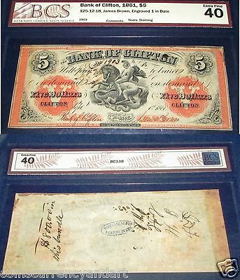 1859 $5 BANK OF CLIFTON ,Canada Chartered Banknote, BCS 40