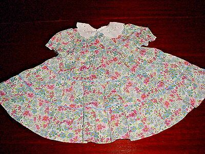 VTG CHILD TODDLER SEARS DRESS SCALLOP PINK BLUE GREEN PERMA PRESS SIZE 3T USA gh