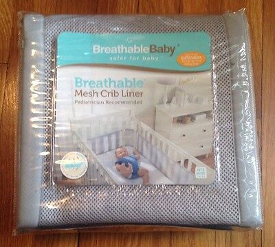 NEW BreathableBaby Mesh Crib Liner-Gray Mist Helps Prevent Suffocation - NIP