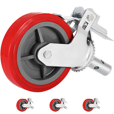 "4 Scaffolding Frame 8"" Polyurethane Rubber Caster Wheels with Double Step Locks"