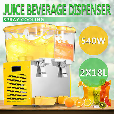 2x18L JUICE BEVERAGE DISPENSER COLD DRINK 9.5 GALLON COMMERCIAL STAINLESS STEEL