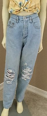 Vintage 80s High Rise Waisted Ripped Distressed Acid Washed Tapered Mom Jeans 7