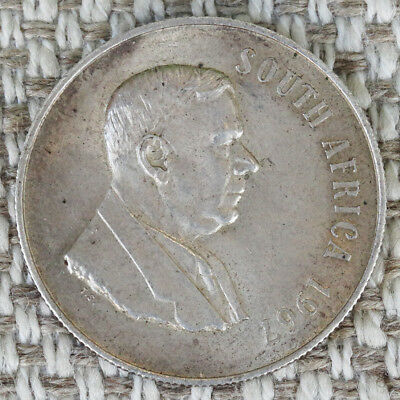 1967 South Africa 1 RAND Silver Coin KM# 72.1