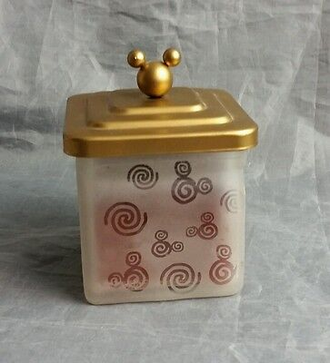 """Disney glass frosted  candle with gold lid EUC never lit 4"""" H"""