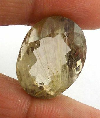1 Pc Natural Golden Rutile 14x19mm Oval Cut 17.37Cts Normal Cut Faceted Gemstone