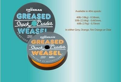 Drennan Greased Weasel Shock Leader 40m Spool - All Sizes & Colours Available