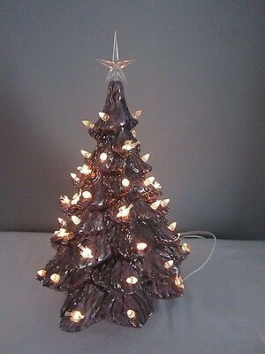 Tabletop Purple Lavender Lighted Ceramic Christmas Tree w/Clear Doves Lights 14""
