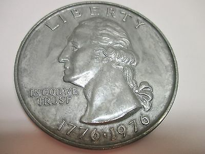 "Large 3"" Diameter Novelty Metal 1776-1976 Liberty Quarter Dollar Coin"