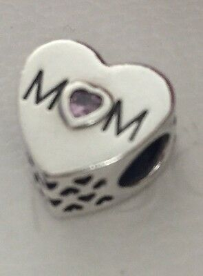 Authentic Genuine Pandora Sterling Silver Mother's Heart Charm - 791881PCZ