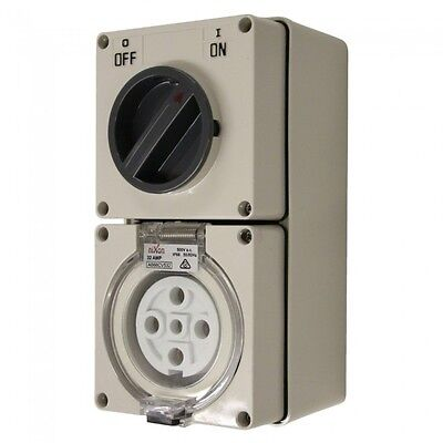 5 Pin 32 Amp Industrial weatherproof combination switch socket 3 Phase SAA