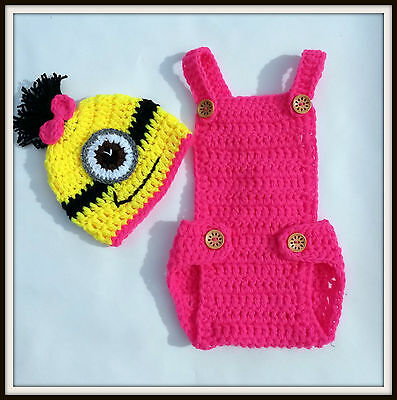 Despicable Me Minion Handmade Crochet OUTFIT photo prop COSTUME CHUNKY