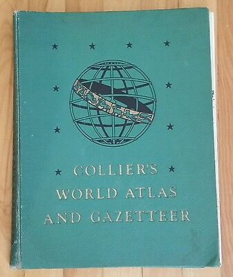 Vtg Colliers World Atlas And Gazetteer Pf Collier & Son 1947 Hardcover 336 Pages
