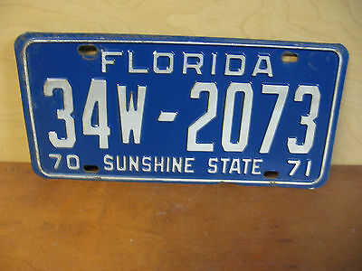 Florida License Plate 1970 1971 34W - 2073 Sunshine State Chevy Ford Dodge