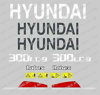 Hyundai 300Lc-9 Digger Excavator Decal Sticker Set With Safety Warning Signs