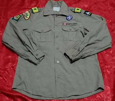 Q221 Used OFFICIAL BOY SCOUTS OF CANADA Uniform shirts Youth Boys Small 34""