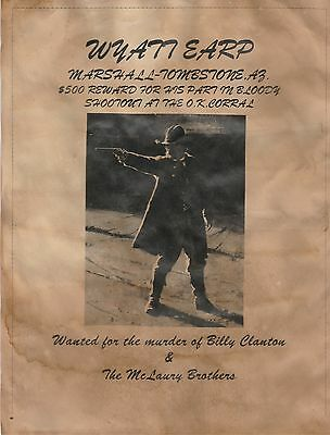 Wyatt Earp~(I Combine Shipping)~Wanted Poster Old West Ok Corral Earp