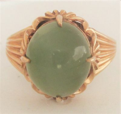 Chinese Export 18K Yellow Gold Jade Art Deco Adjustable Ring