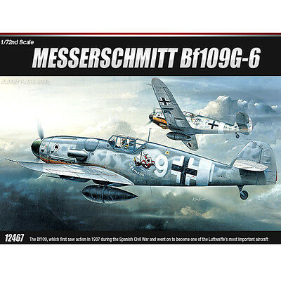 Academy 1/72 MESSERSCHMITT Bf109G-6 Plastic Model Kit Airplanes #12467