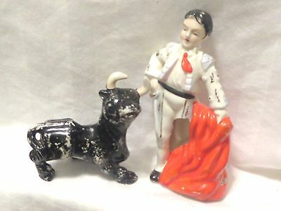 Vintage Matador And Bull Salt And Pepper Skakers