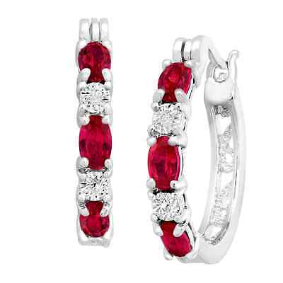 2 ct Created Ruby Hoop Earrings with Diamonds in Platinum-Plated Brass, .875""