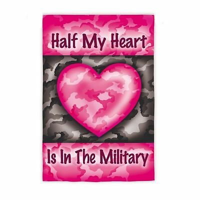 Valentine Half My Heart Military Camouflage Double Sided Garden Flag 12.5 x 18
