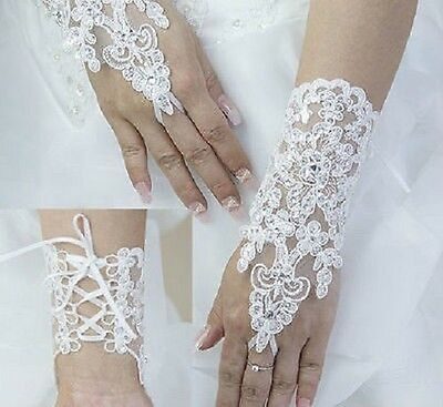 Bridal Formal White Lace With Rhinestones Fingerless Wrist Gloves One Size New