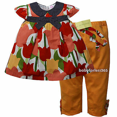 NWT Laura Ashley Baby Girls 2 pc set Outfit Shirt and Legging Size 2T 3T 4T
