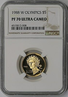 1988-W Olympic Gold Modern Commemorative $5 PF 70 Ultra Cameo NGC