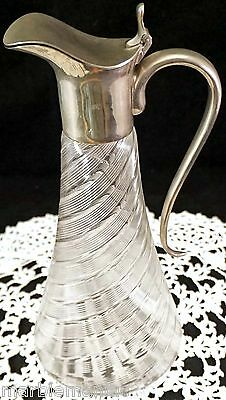 Antique Threaded Spiral Glass Silver Plated Pitcher Wine Claret Jug Carafe Nice