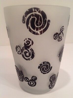 Mickey Mouse Vase Frosted Glass Hidden Mickey Black Clear Medium 7""