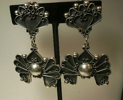 Taxco Mexico Sterling Silver Large/long Clip Back Dangle Earrings - Stunning!