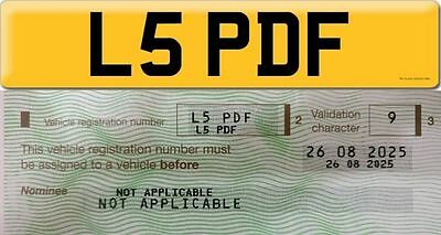 L5 PDF cherished personalised personal number includes dvla £80 fee on retention