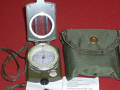 Military Style Compass & Pouch Lensatic Engineer Navigation Survival Gear Hiking