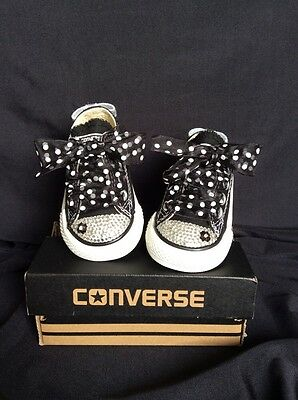 BNIB  Crystal Customised Converse Diamanté Bling Baby/toddler Ukinfant Size 2