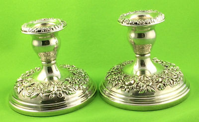 Kirk Stieff Silver Plated Repousse Flowers Candle Holders (2)
