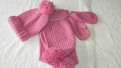 Next 3-4 years PINK HAT SCARF & MITTS SET *BNWT* New Bobble Pom Pom Girls Winter