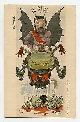 illustrateur E Müller .M . JAURèS . Caricature . satire