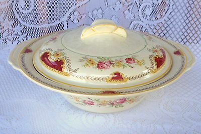 Woods Ivory Ware Roses & Floral Yellow/Burgundy Covered Vegetable Bowl  (479)