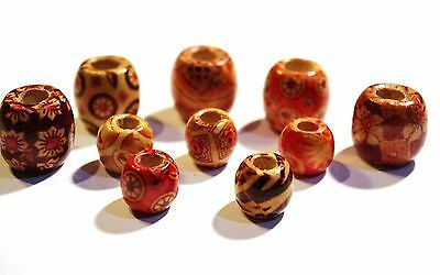 10 x Assorted Wood Dreadlock Dread Beads Large & Medium Dreadies 12mm & 16mm