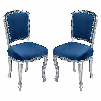 Venetian baroque pair of chairs silver blue sedie barocco argento - MA A41