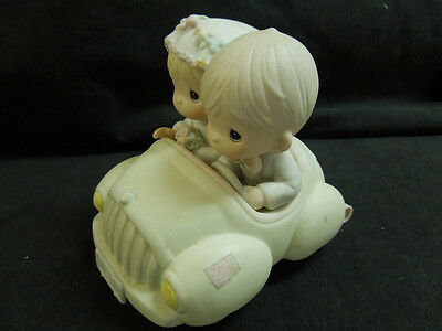 1988 Precious Moments Just Married Porcelain Car, Pastel Colors, Wedding, Gift