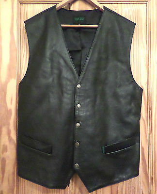 "Mabu Mens Black Leather Waistcoat Fit 42/44"" Chest"