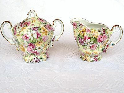 Floral Chintz Gold Accents Footed Covered Sugar & Creamer (437)