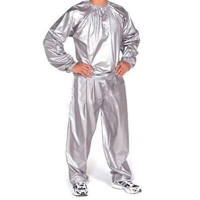 Heavy Duty Sweat Suit Sauna Suit Exercise Gym Fitness Slim Weight Loss Grey