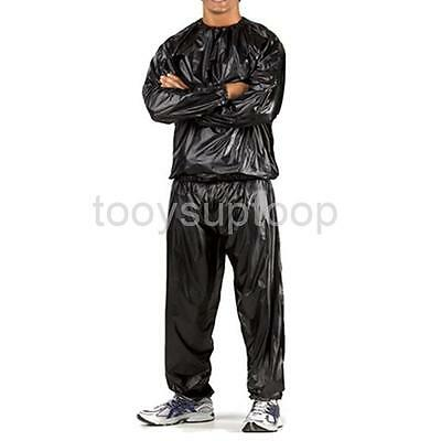 Heavy Duty Sweat Suit Sauna Suit Exercise Gym Fitness Slim Weight Loss Black