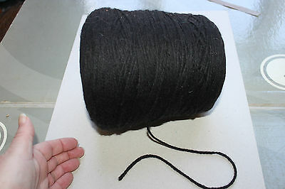 Machine Knitting Yarn Cone (Black) 695g inc cone thicker chunky type wool seepic