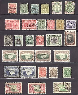 Rhodesia and Southern Rhodesia Stamp Lot, 5 Scans, some early, Cat Value $135 +