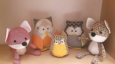 Handmade Autumn home / nursery decorations owls and woodland fox