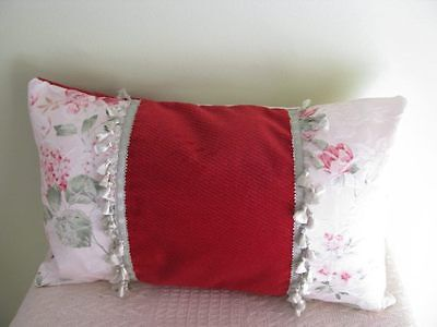 Cherry Red Cushion Cover floral brocade with tassel tri