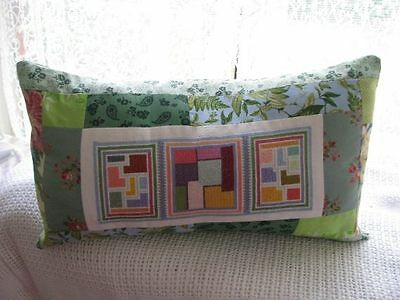 Cushion Cover Patchwork and Cross Stitch in greens
